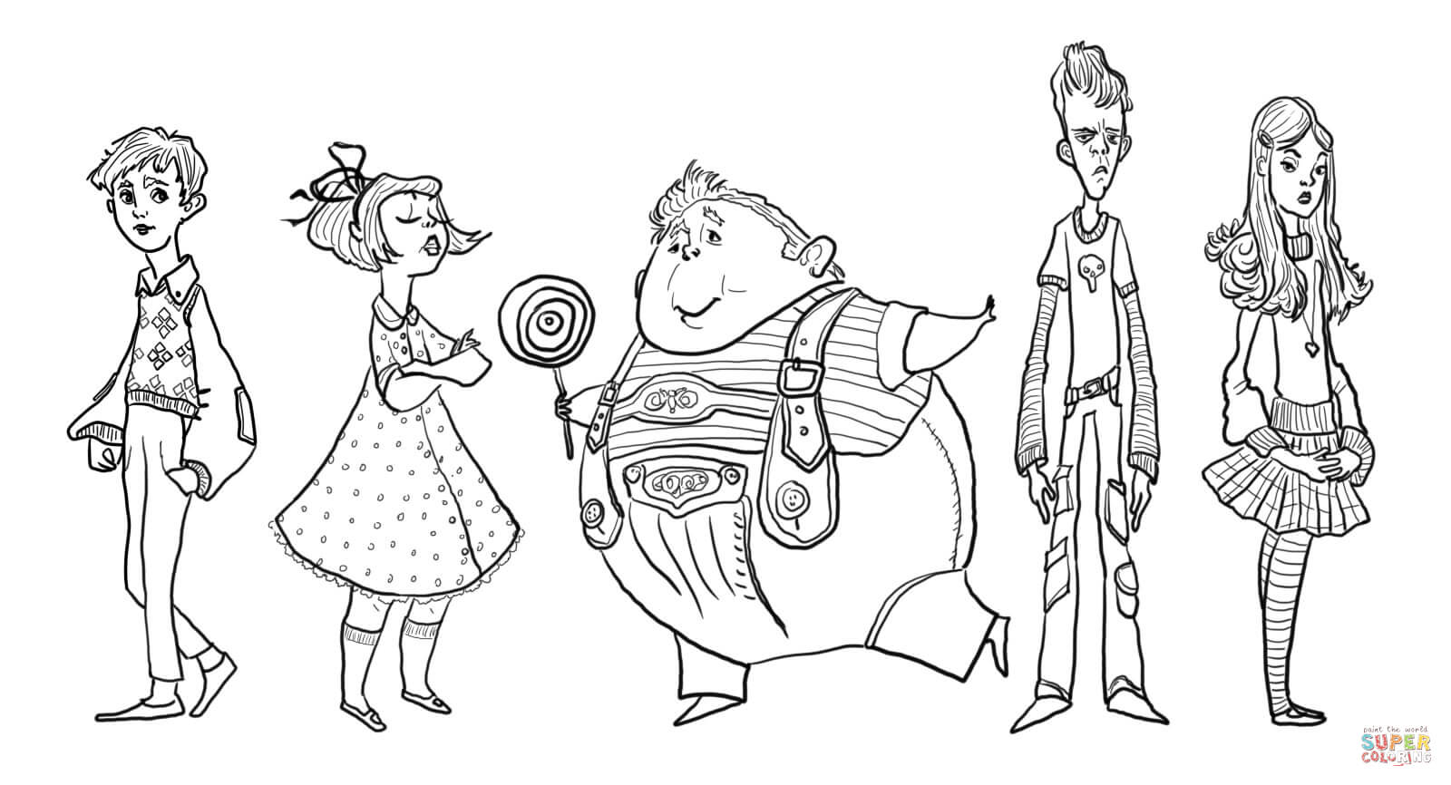 Charlie Bucket Violet Beauregarde Augustus Gloop Mike Teavee And Veruca Salt Coloring Page