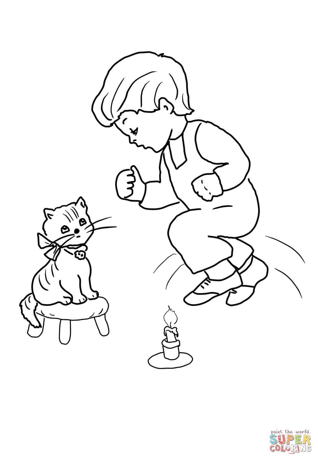 Jack Be Nimble Jack Be Quick Coloring Page Free