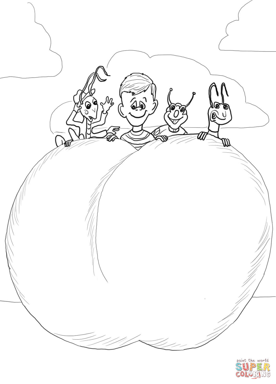James And The Giant Peach Characters Coloring Page