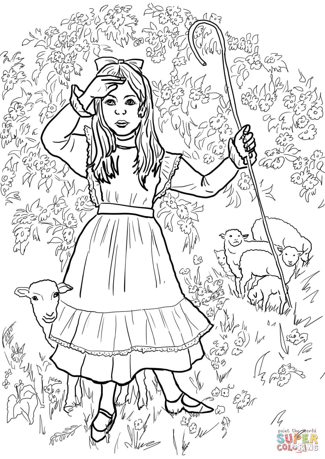 Little Bo Peep Nursery Rhyme Coloring Page