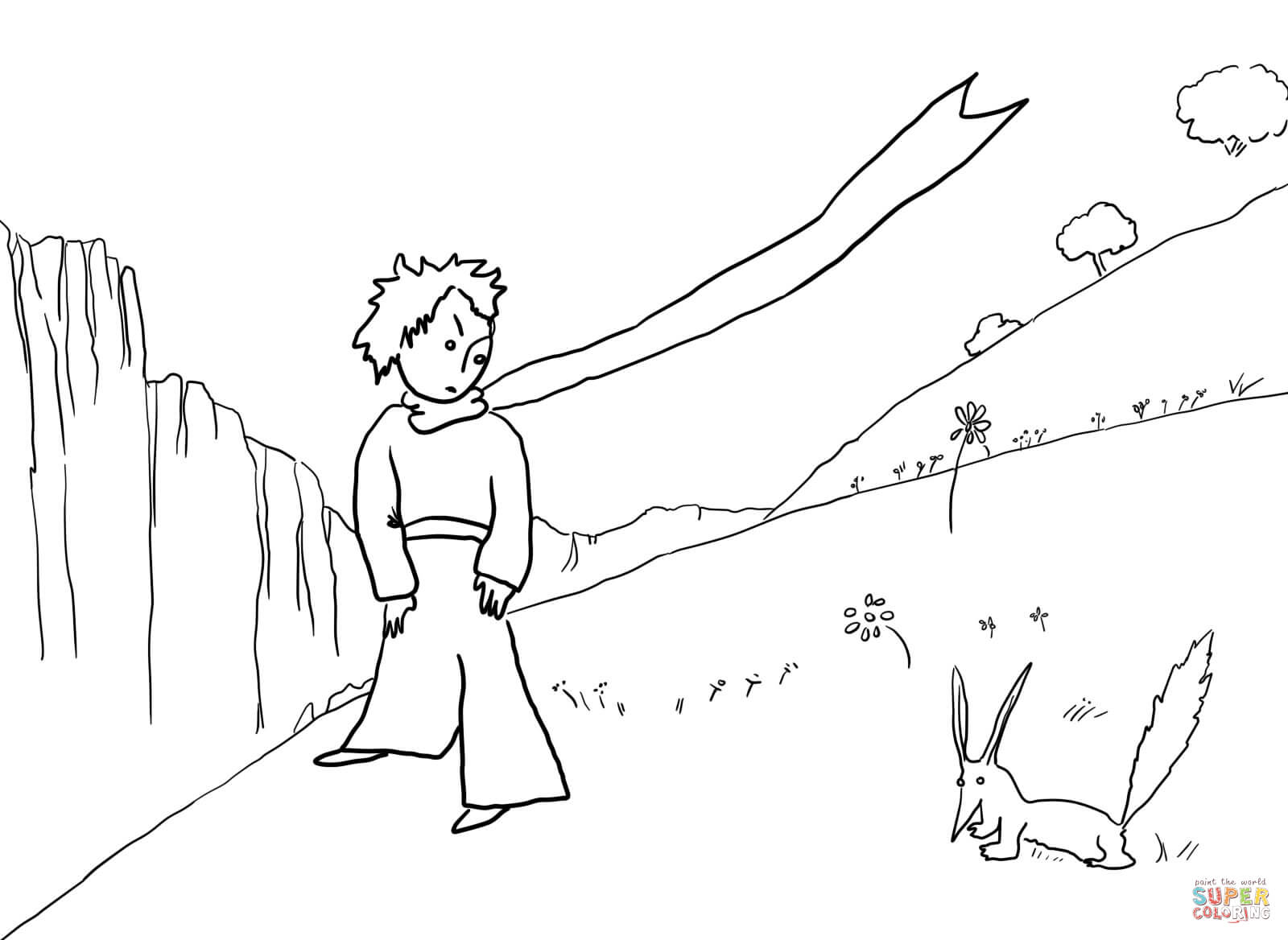 Little Prince Meets The Fox Coloring Page Free Printable