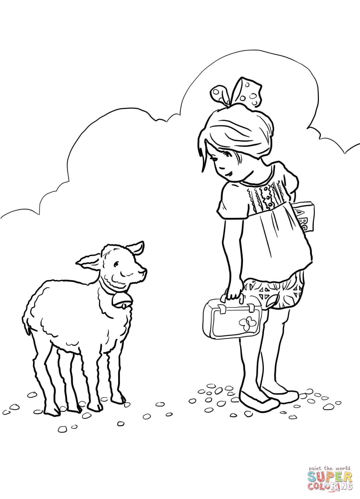 Ausmalbild Mary Had A Little Lamb Kinderlied