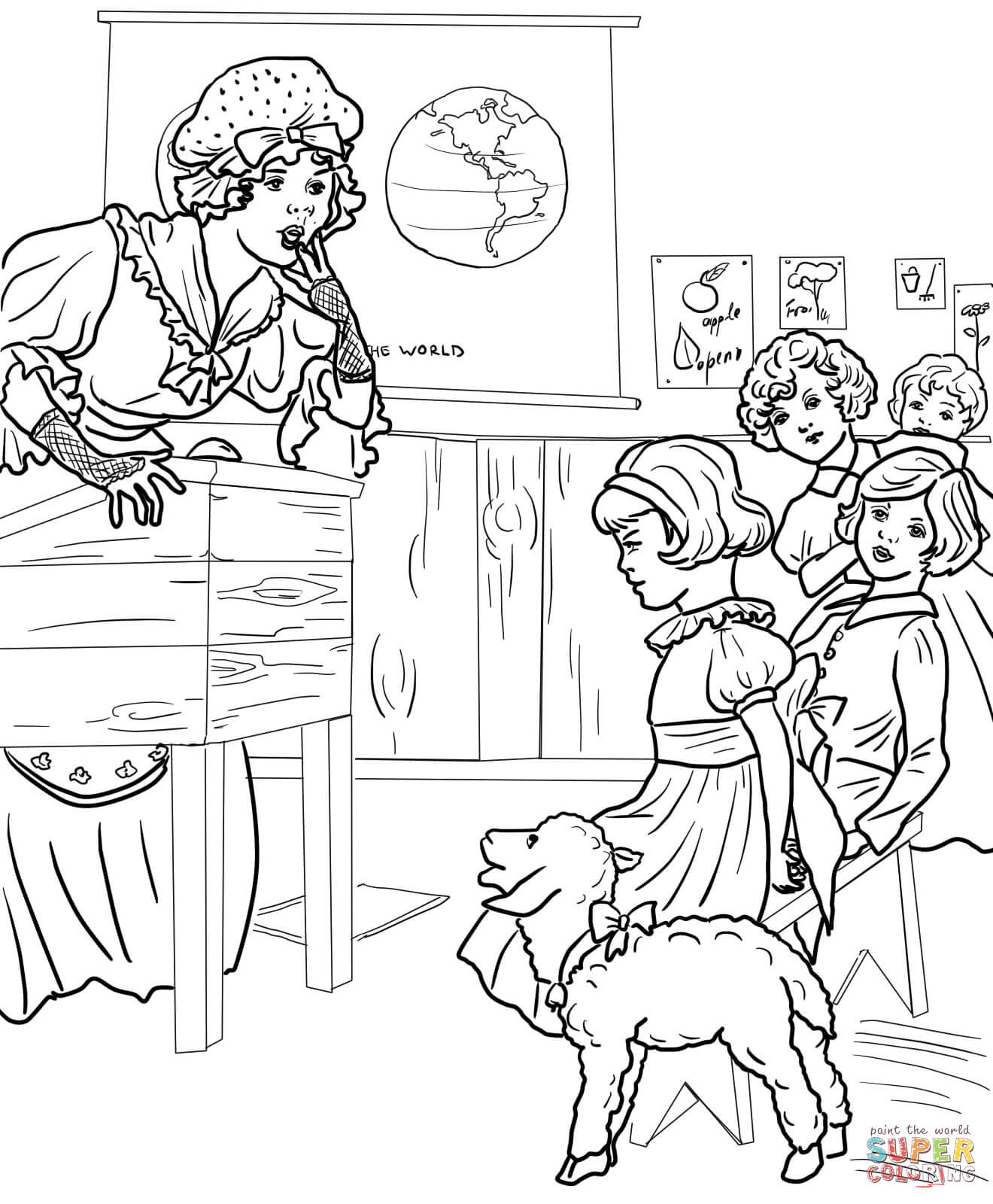 Mary S Little Lamb In A School Coloring Page
