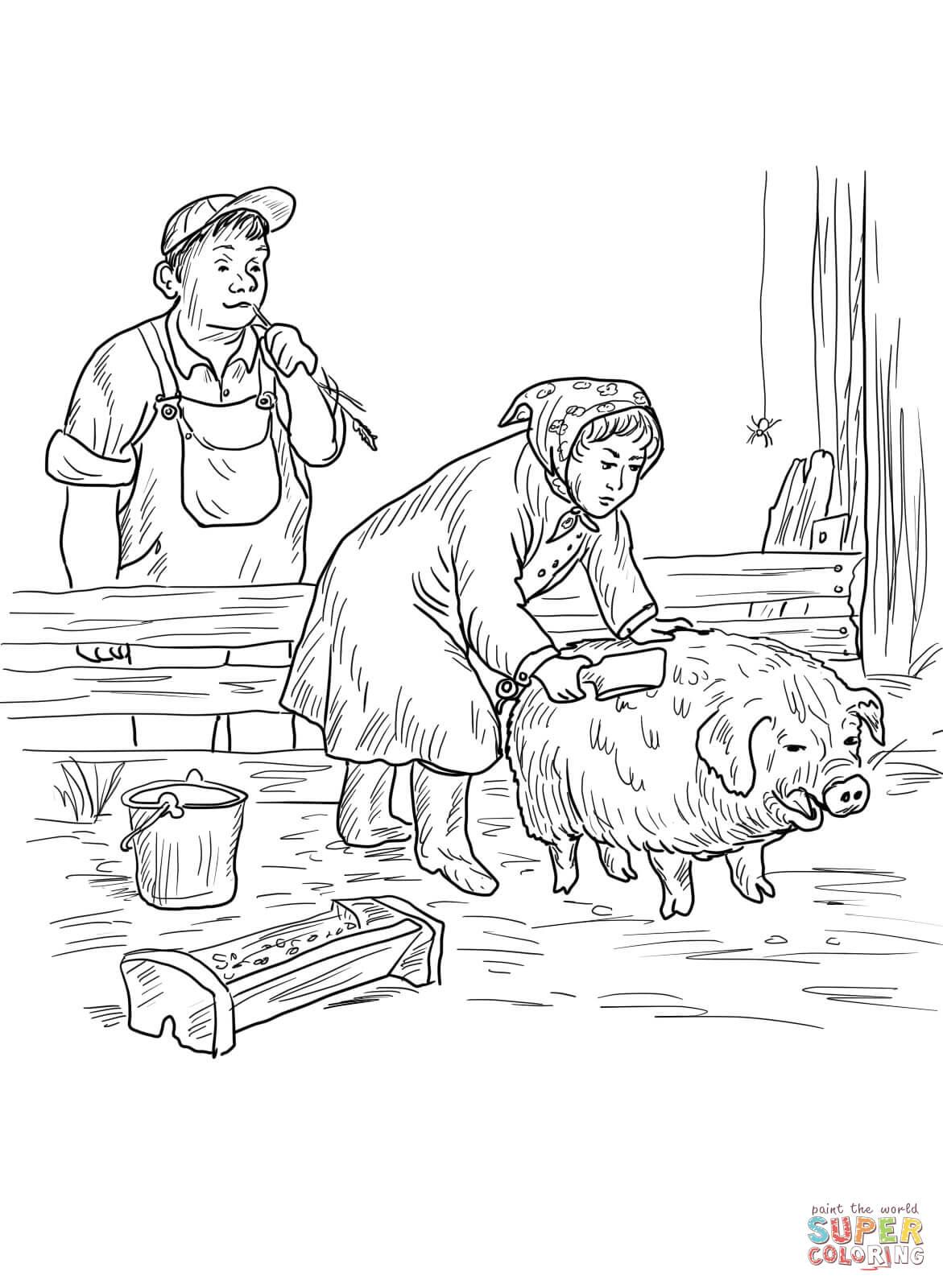 Mrs Zuckerman Gives Wilbur A Buttermilk Bath Coloring