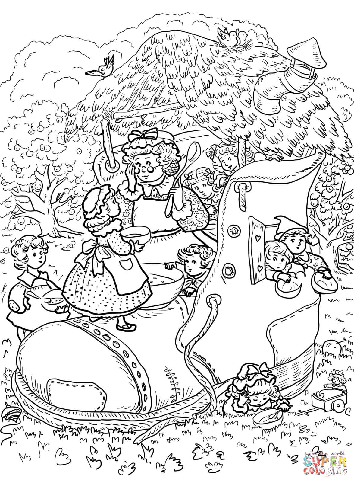 Old Woman Who Lived In A Shoe Coloring Page