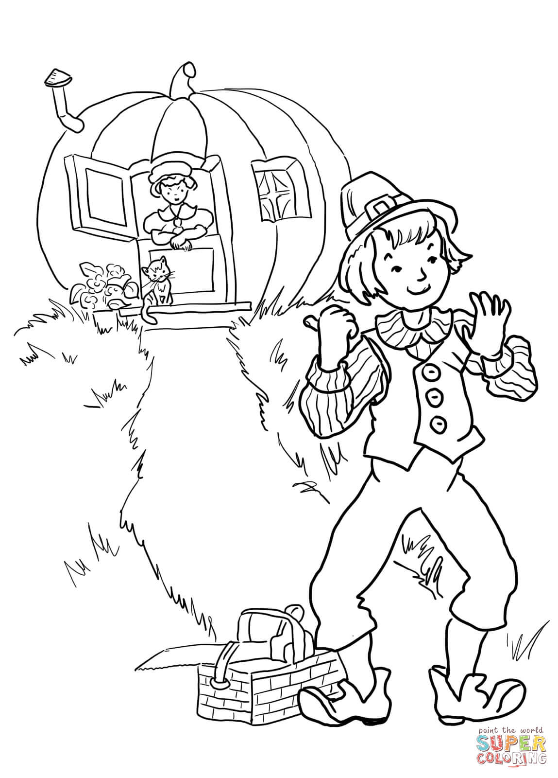 Nursery Rhyme Rain Go Away Sketch Coloring Page