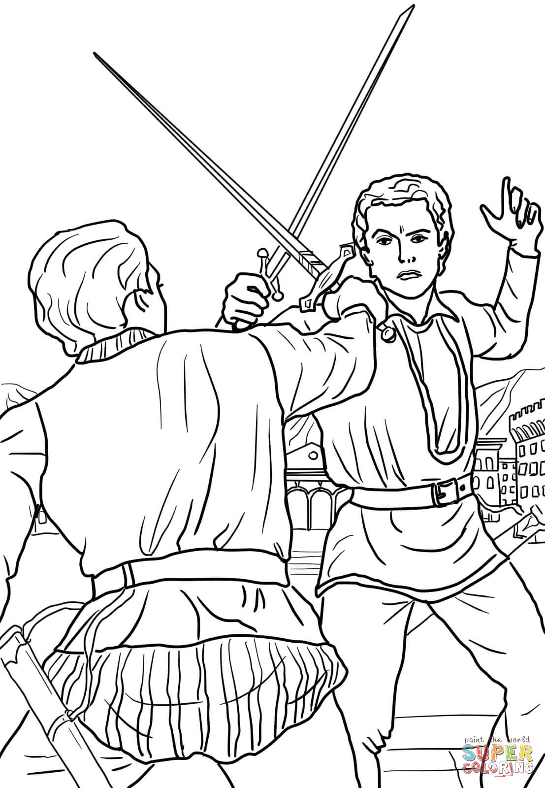 Romeo And Juliet Duel Scene Coloring Page