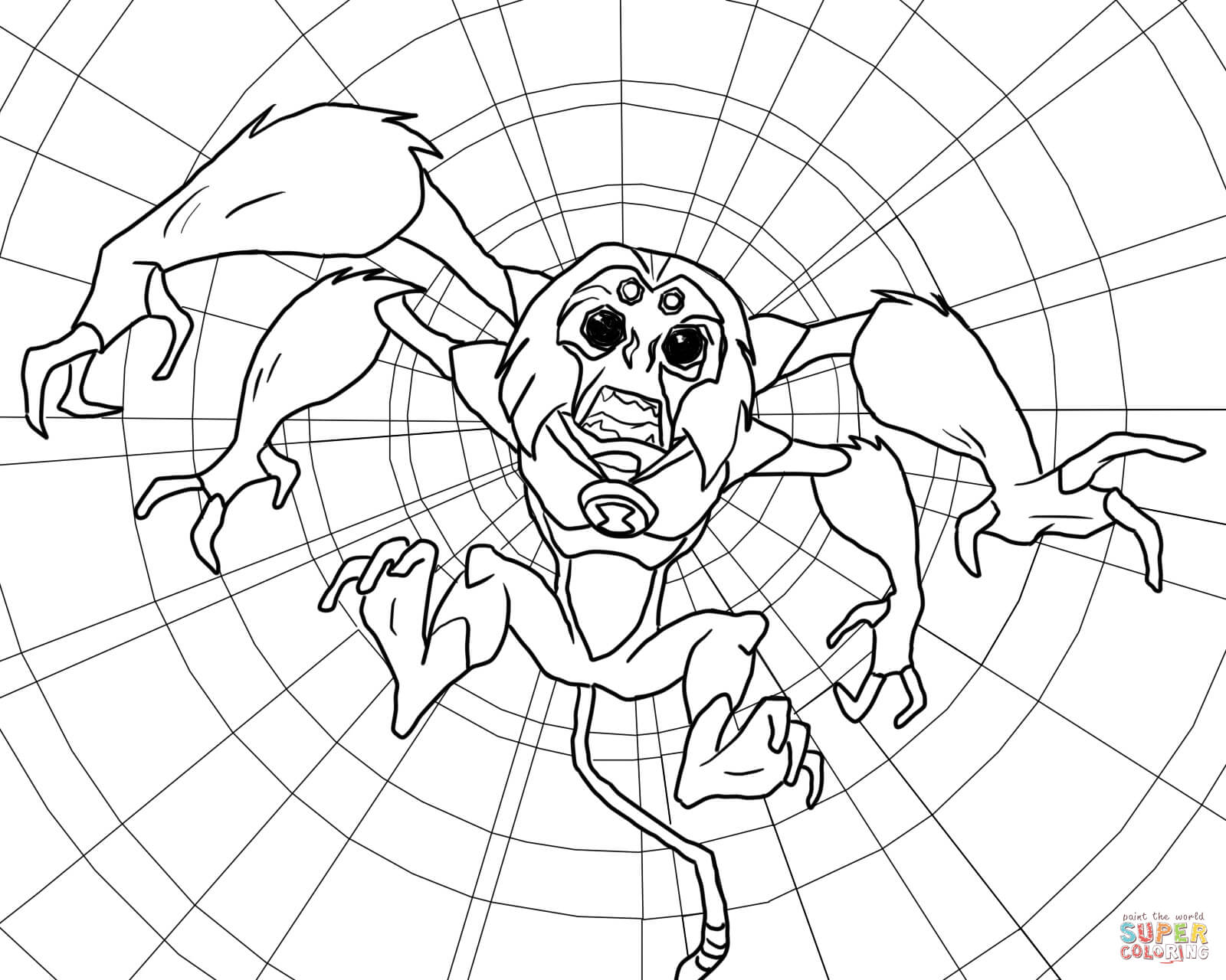 Ben 10 Alien Force Spidermonkey Coloring Page Free Printable