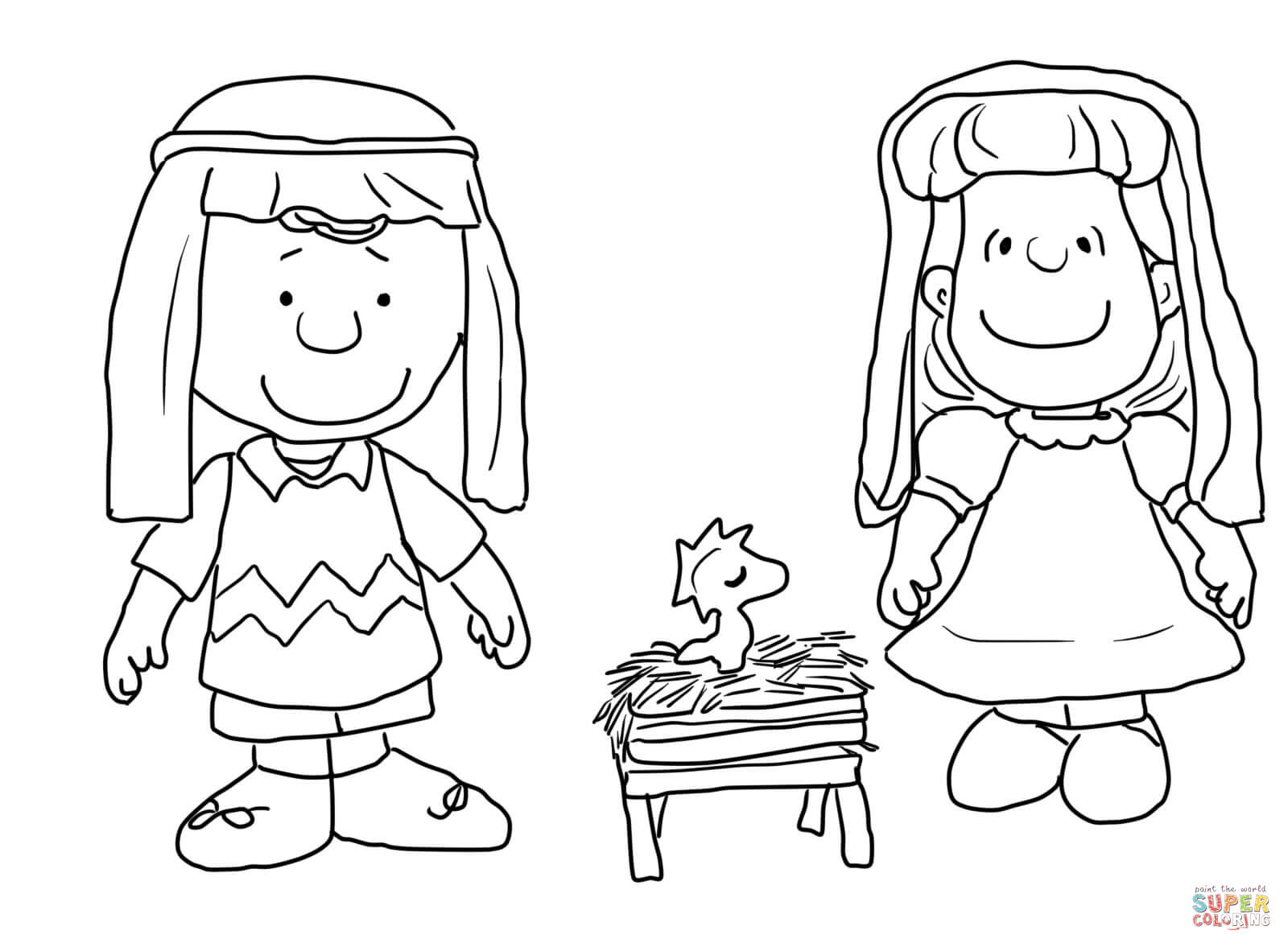 Charlie Brown Christmas Nativity Coloring Page