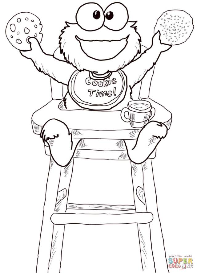 Cookie Time for Cookie Monster coloring page  Free Printable