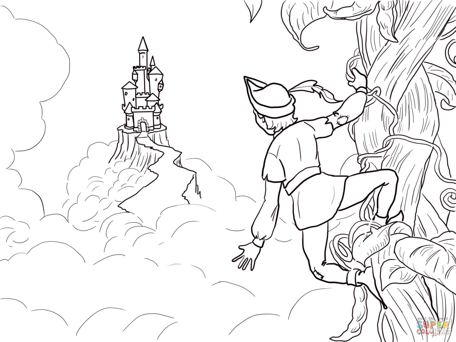 Jack And The Beanstalk Castle Coloring Page