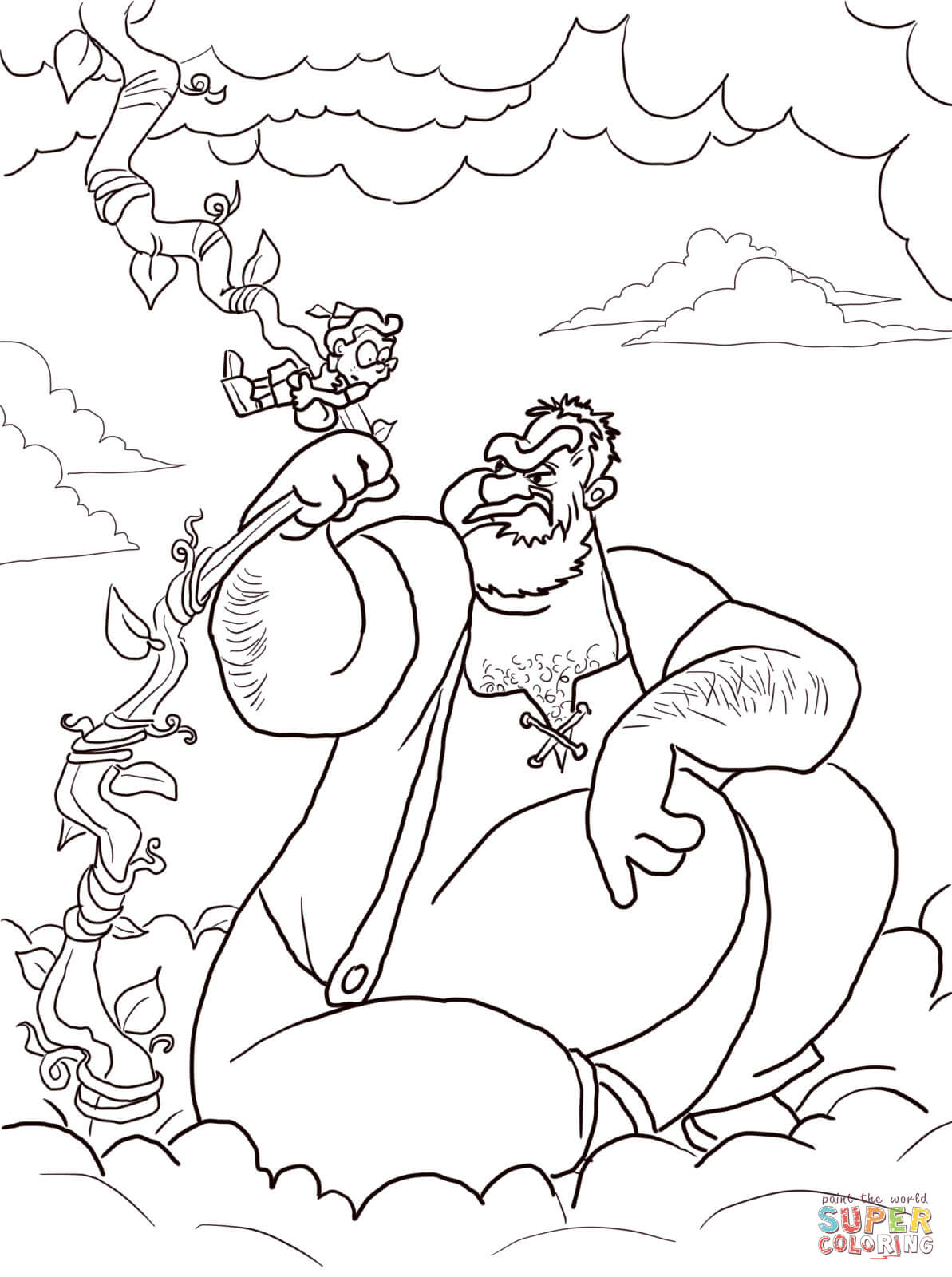 Jack And The Beanstalk Giant Coloring Page