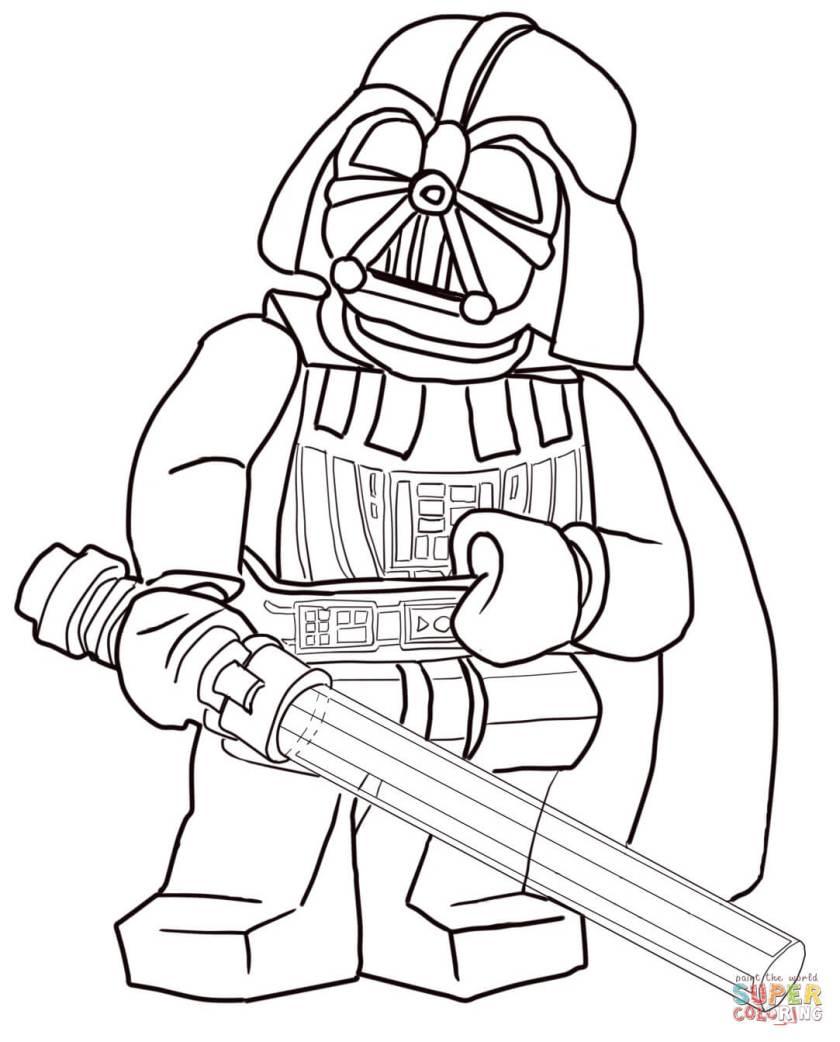 Lego Star Wars Darth Vader Coloring Page Free Printable