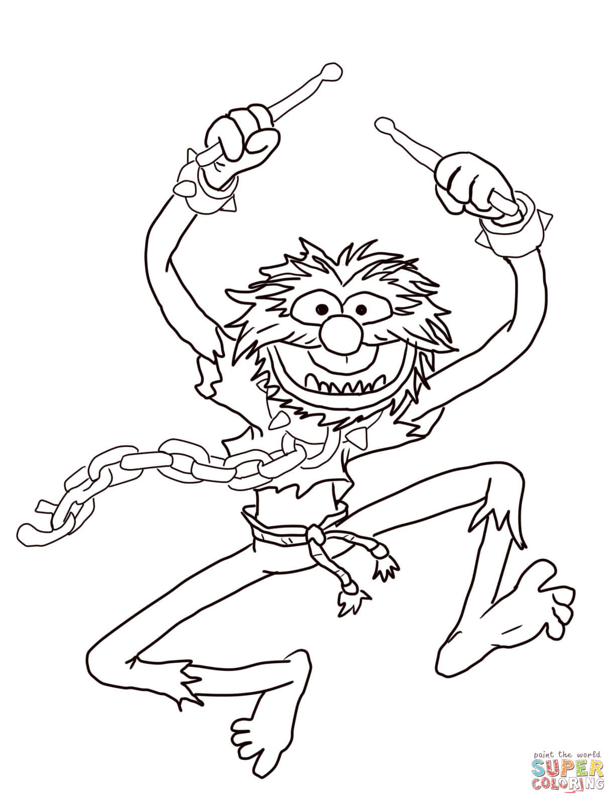 Muppets Animal With Drumsticks Coloring Page