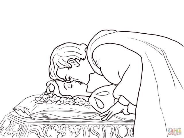 Coloriage - Le Prince embrasse Blanche-Neige  Coloriages à