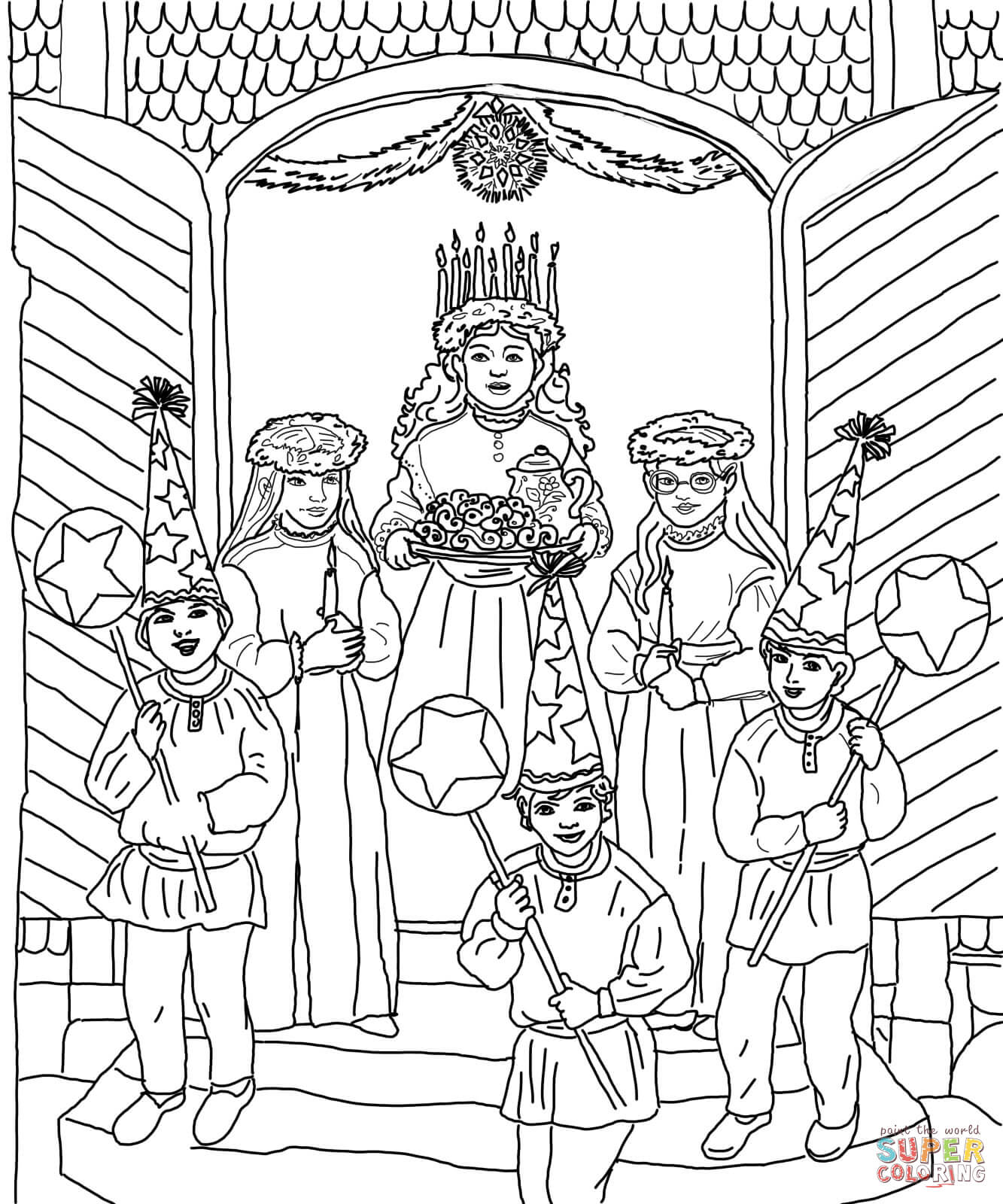 Saint Lucia Day Celebration Coloring Page