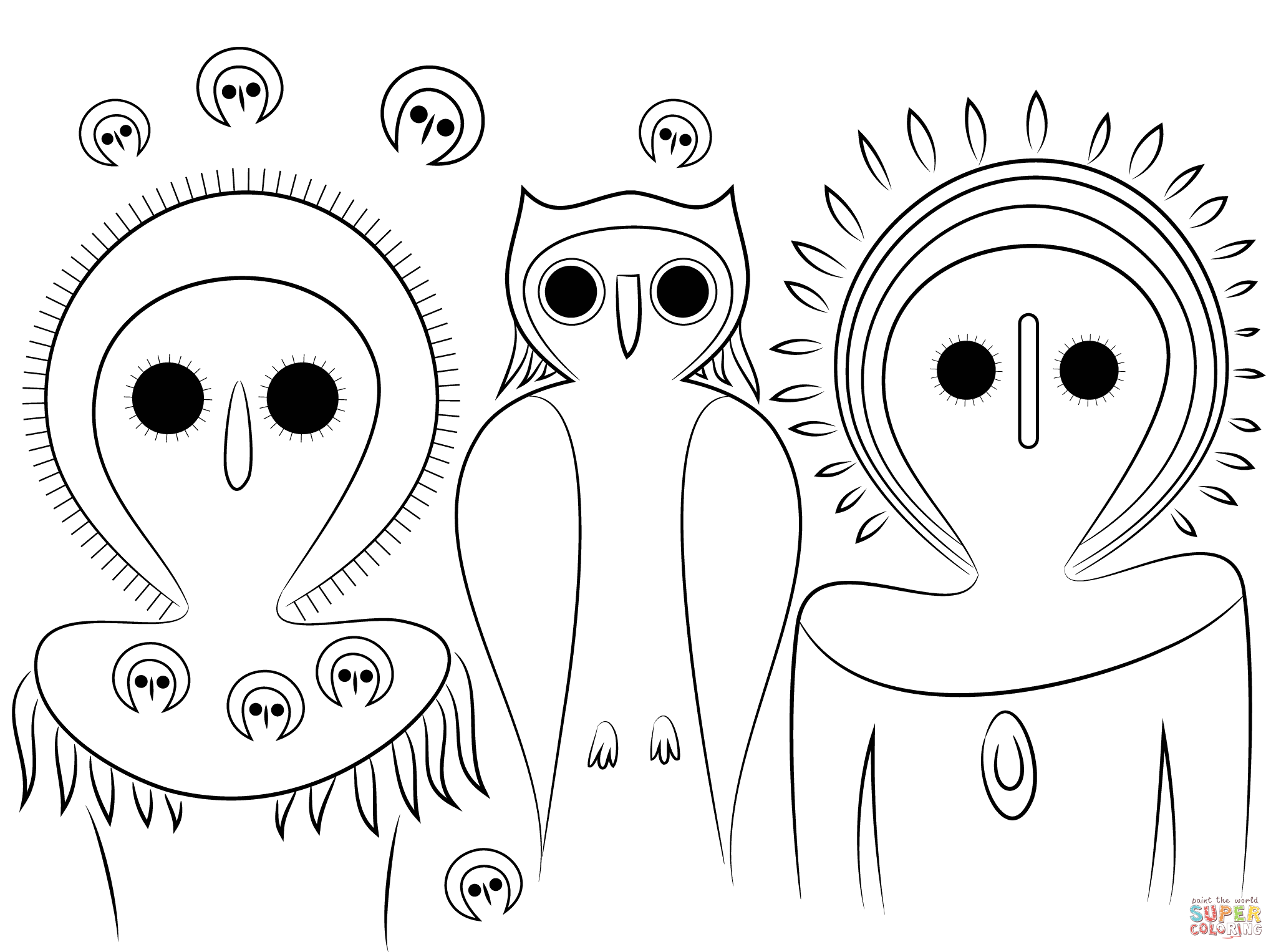 Aboriginal Owls Coloring Page