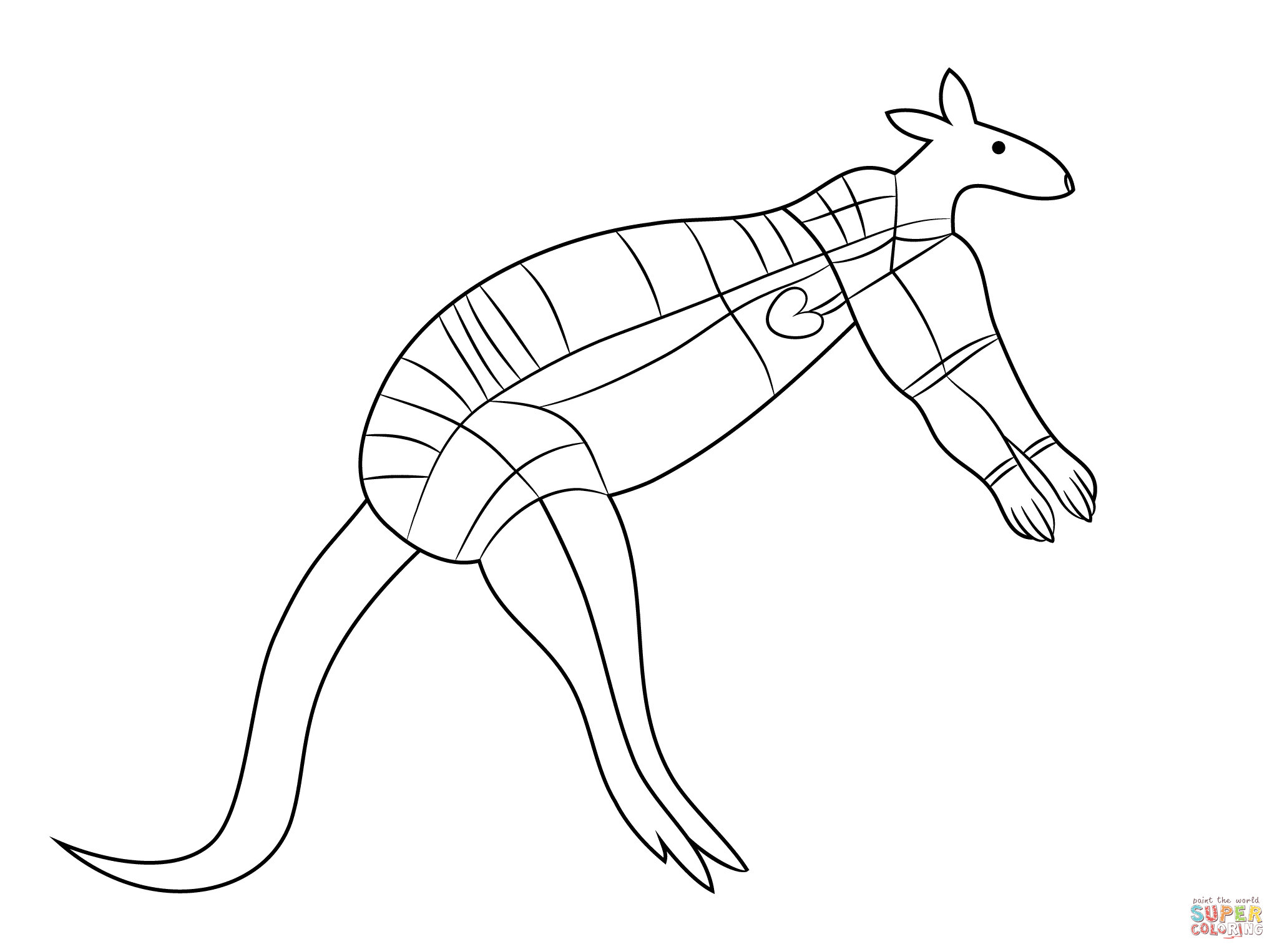 Aboriginal Painting Of Kangaroo Coloring Page