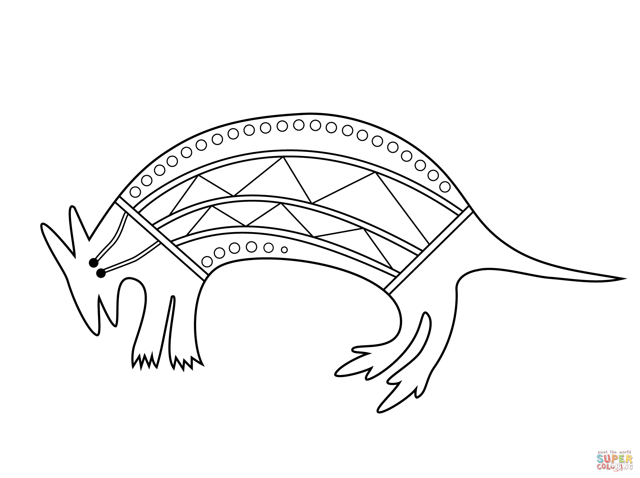Aboriginal Painting Of Wallaby Coloring Page