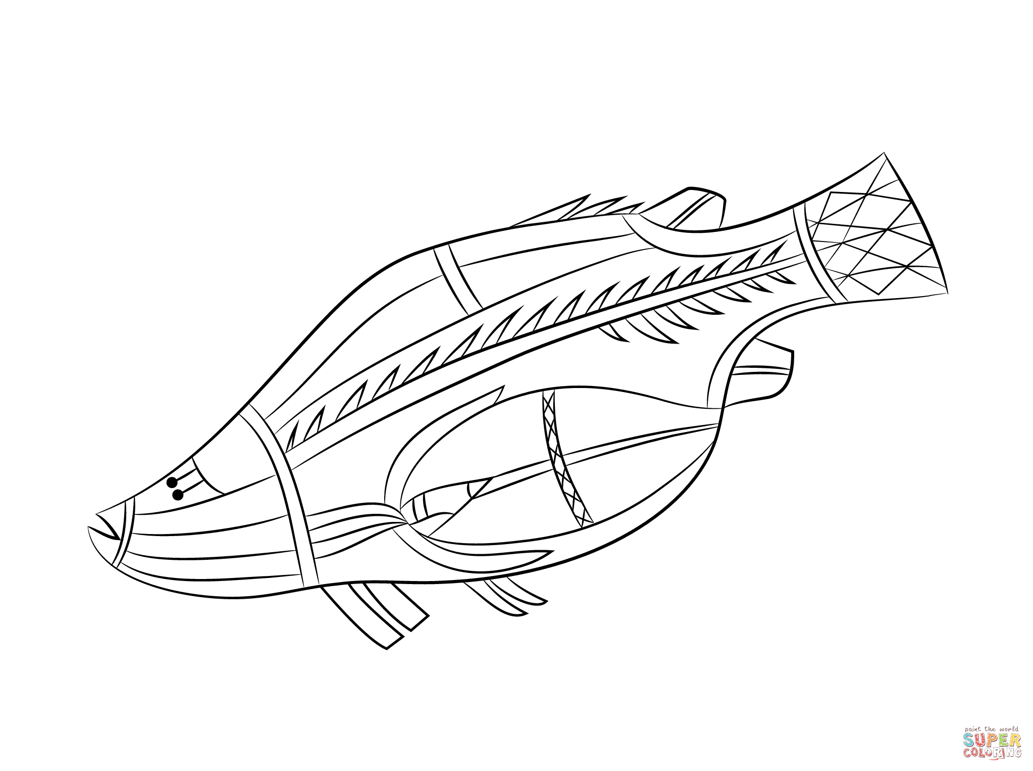 Aboriginal Rock Painting Of Fish Coloring Page