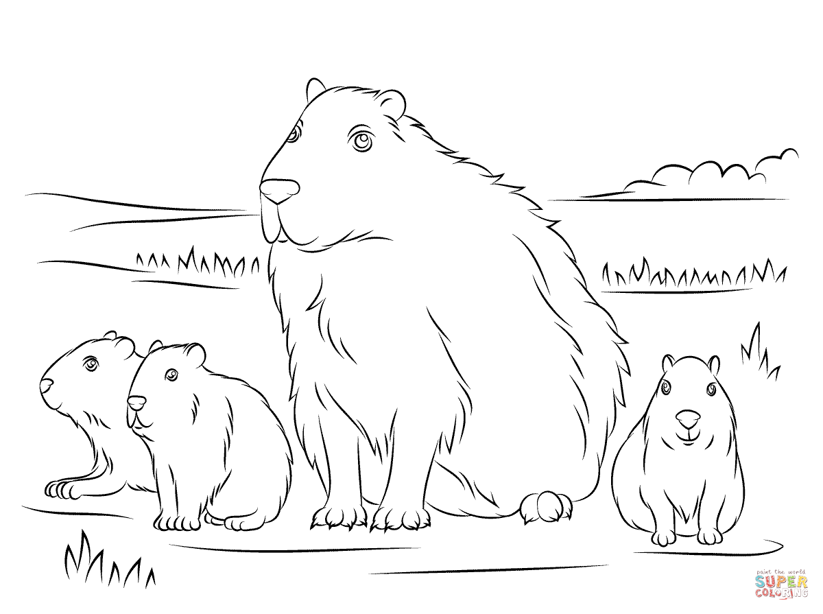 Capybara With Cute Babies Coloring Page