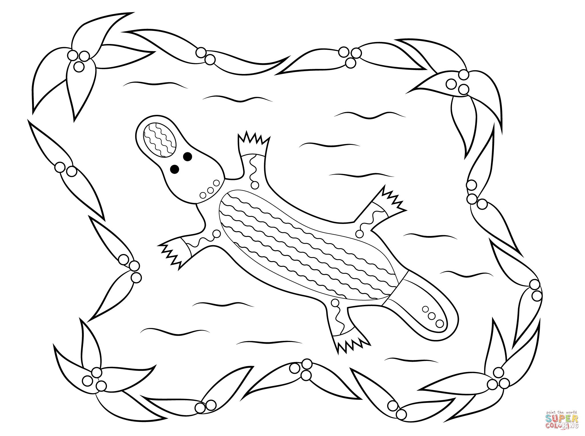Platypus Aboriginal Art Coloring Page