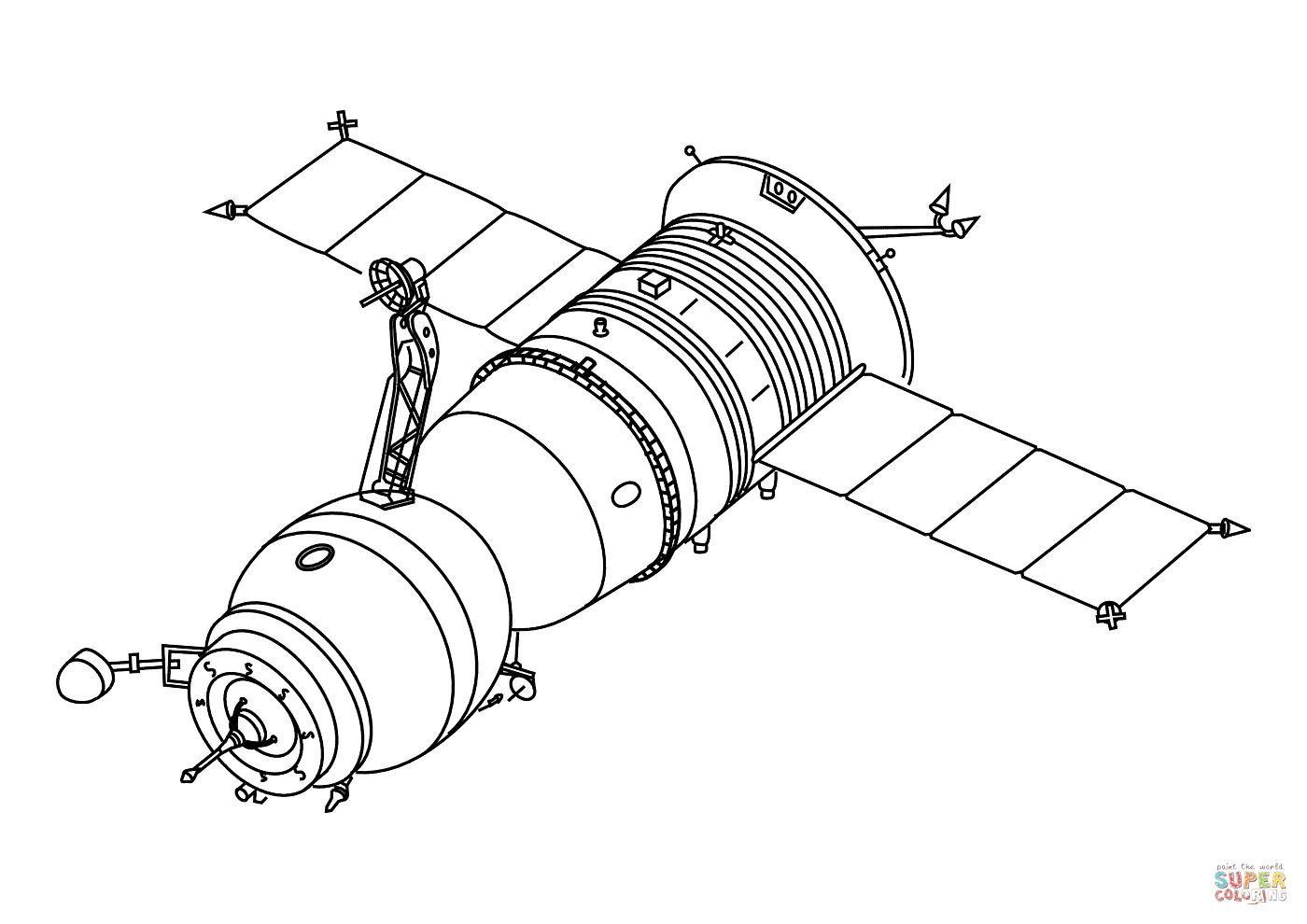 Progress Cargo Spacecraft Coloring Page
