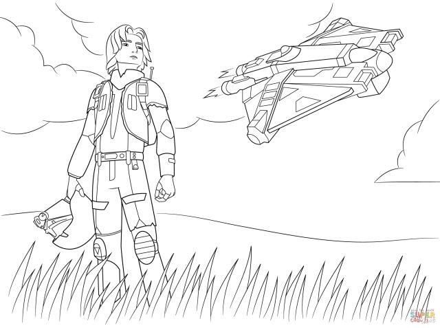 Star Wars Rebel Ezra Bridger coloring page  Free Printable