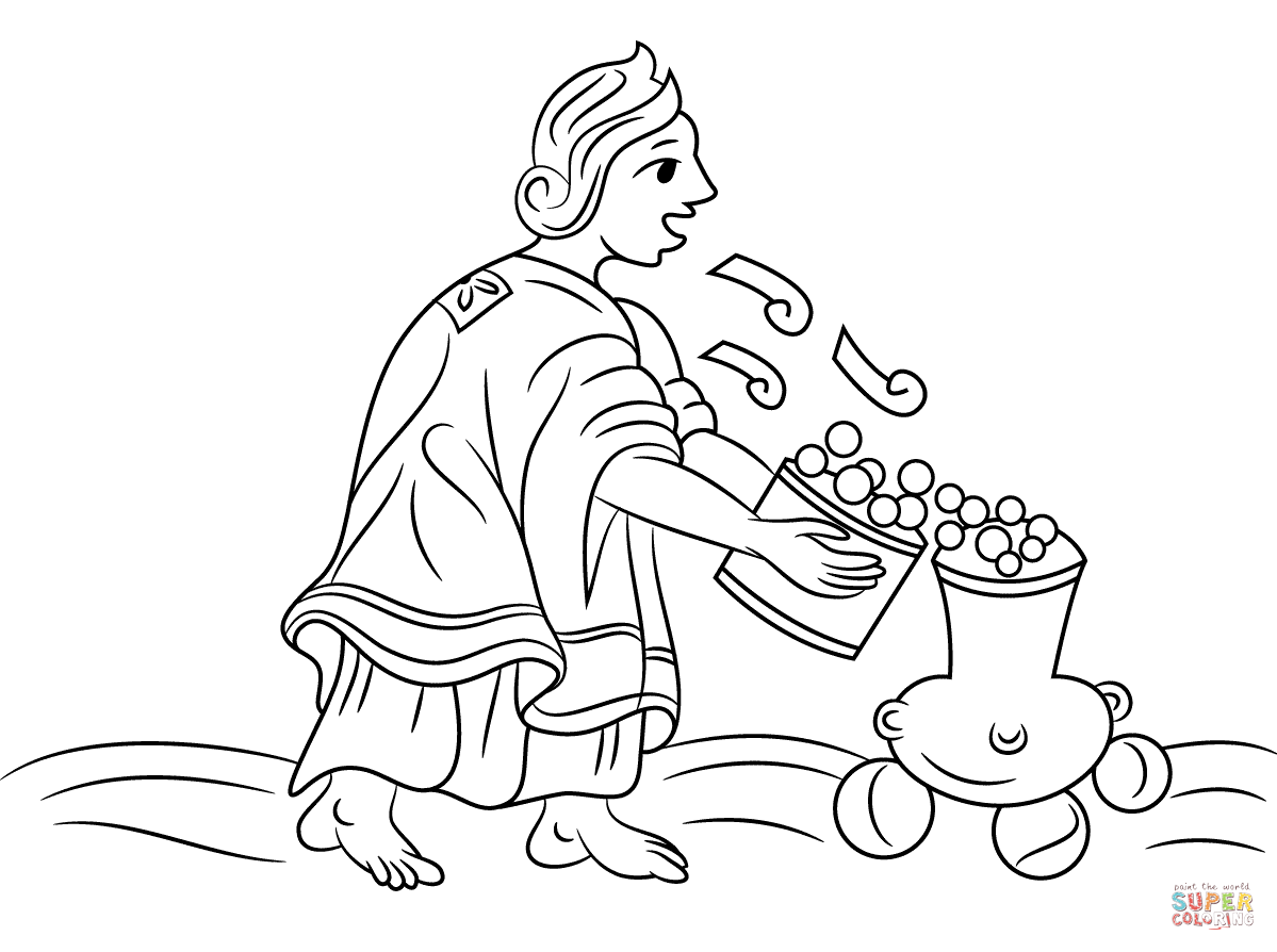 Aztec Woman Blowing On Maize Coloring Page