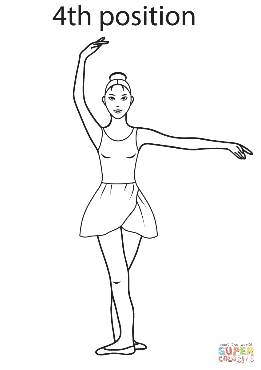 Ballet 4th Position Coloring Page Free Printable