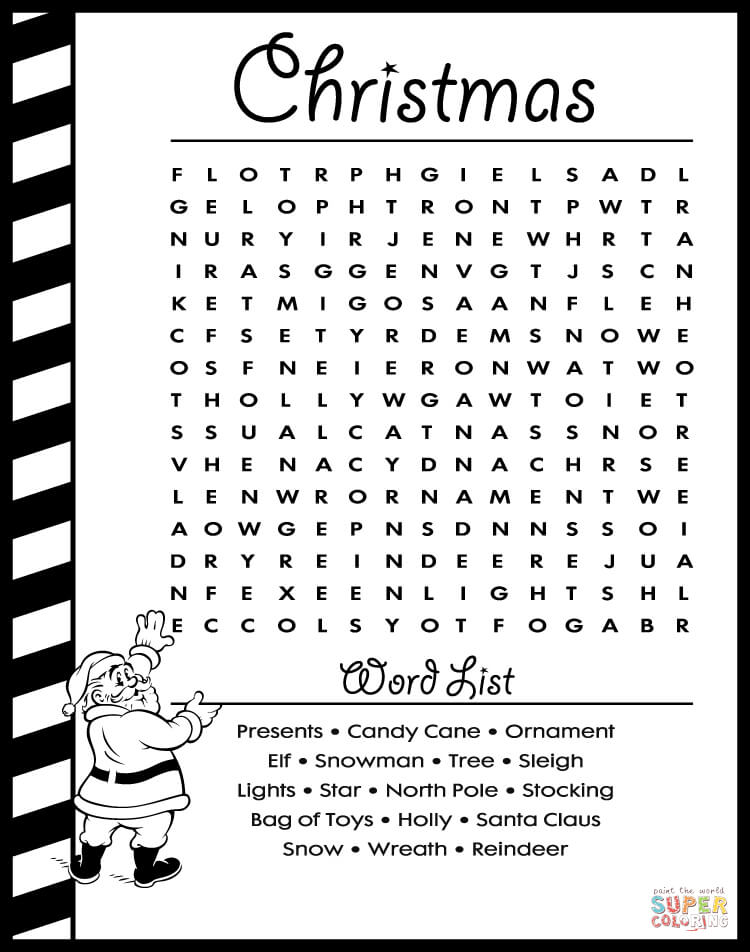 christmas word search puzzle (learn english) coloring page