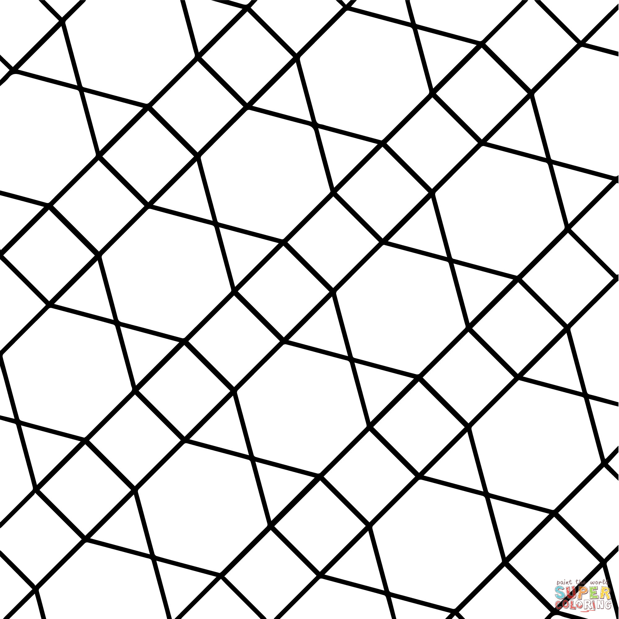 Geometric Tessellation With Hexagon Triangle And Square Coloring Page