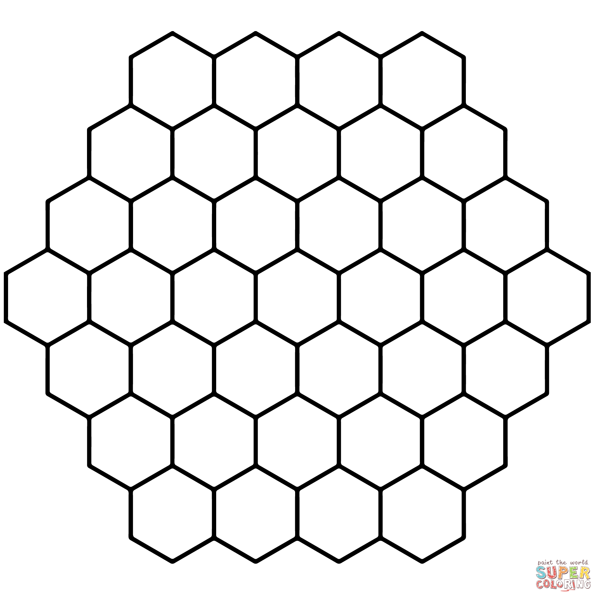 Hexagon Honeycomb Tessellation Coloring Page