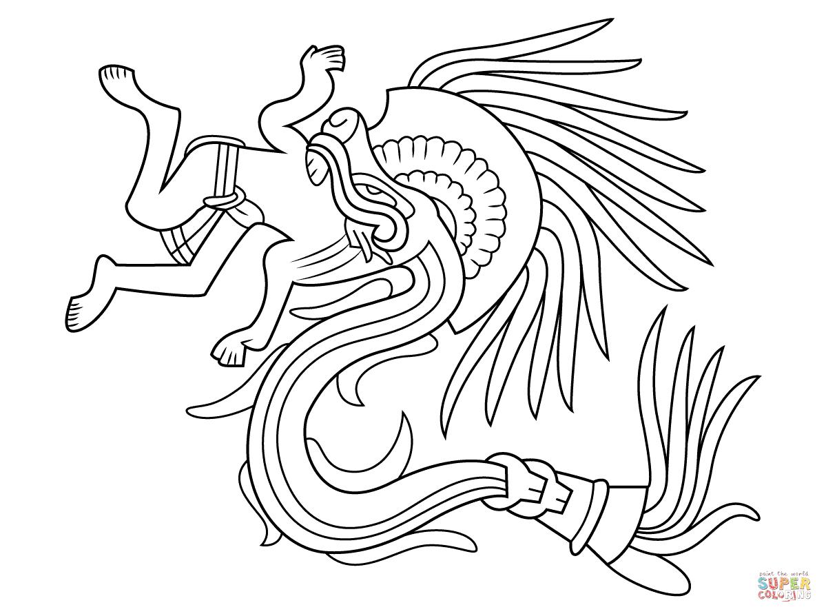 Quetzalcoatl Aztec God Coloring Page