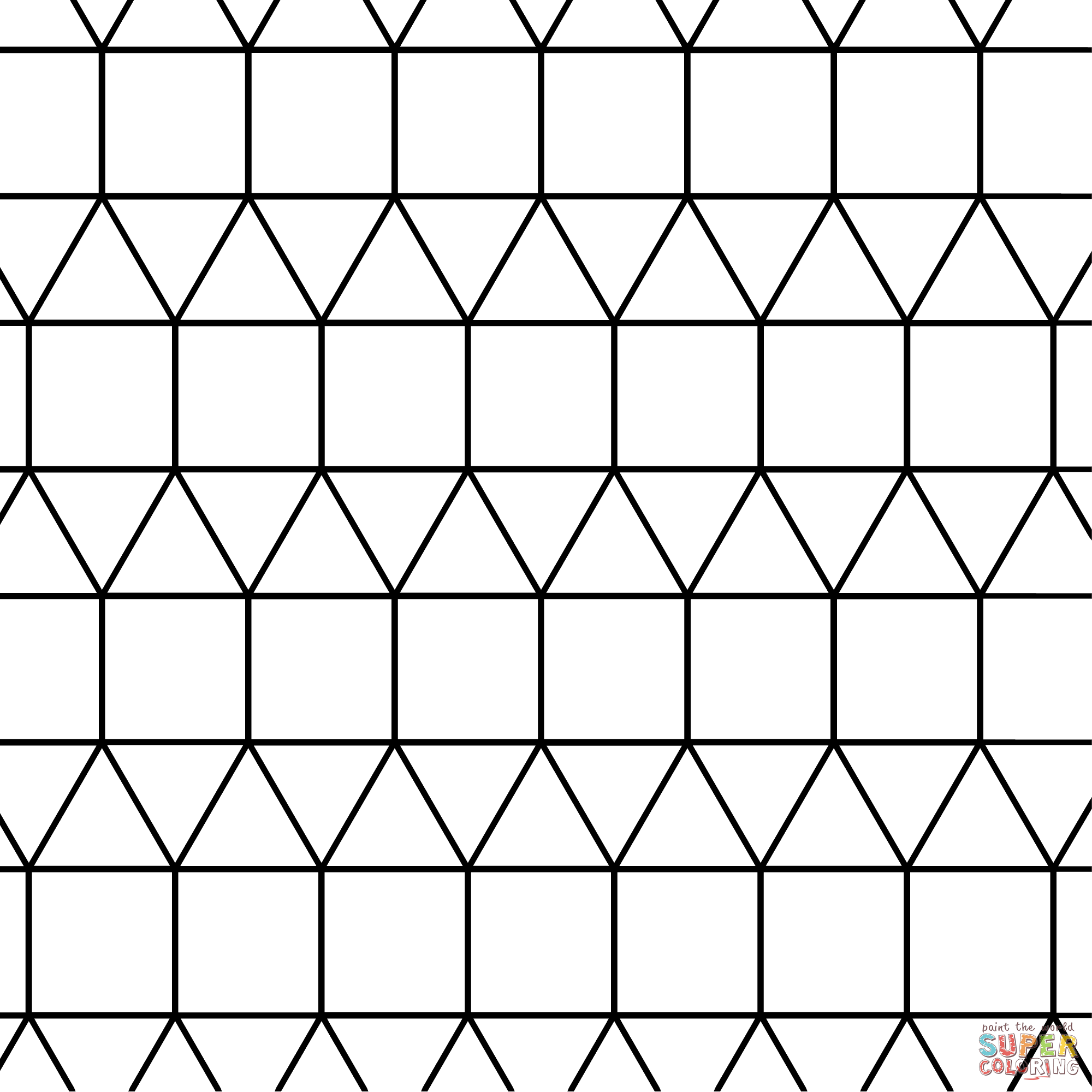Tessellation With Triangle And Square Coloring Page