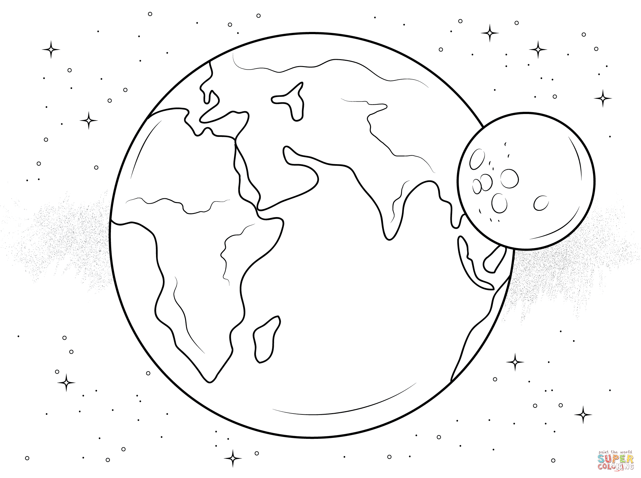 Earth And Moon Coloring Page