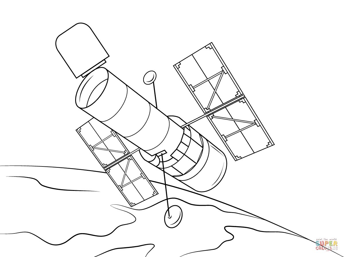 Hubble Space Telescope Coloring Page
