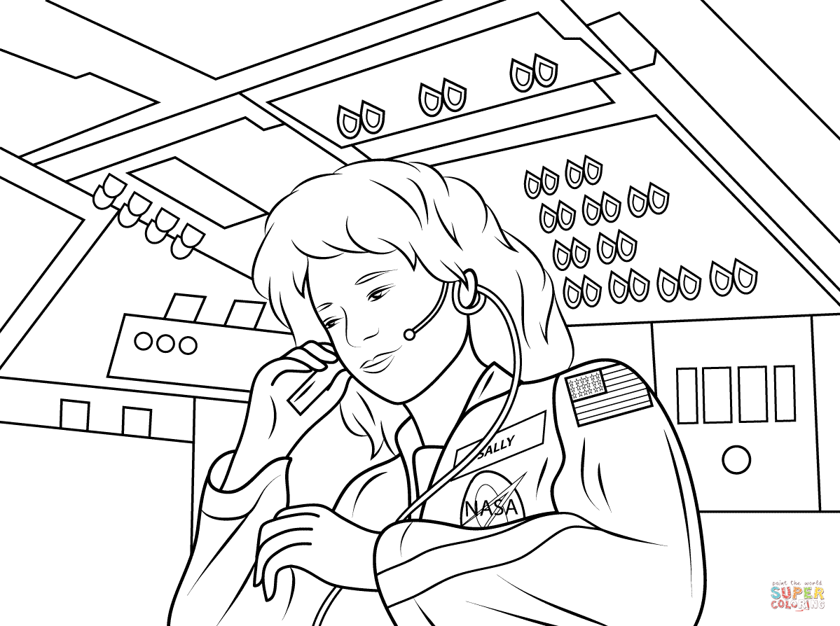 Sally Ride America S First Woman Astronaut Coloring Page