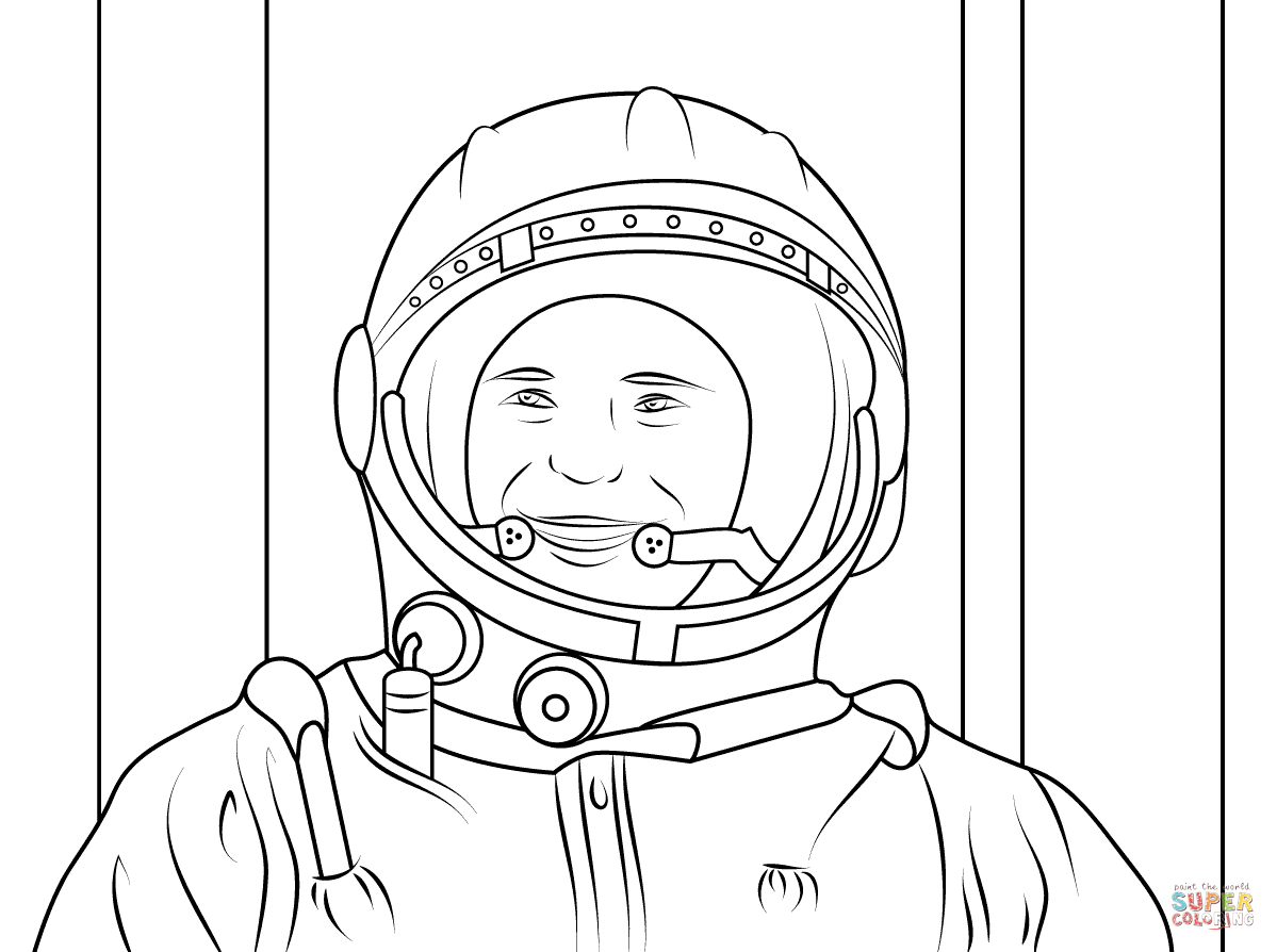 Yuri Gagarin First Human In Space Coloring Page