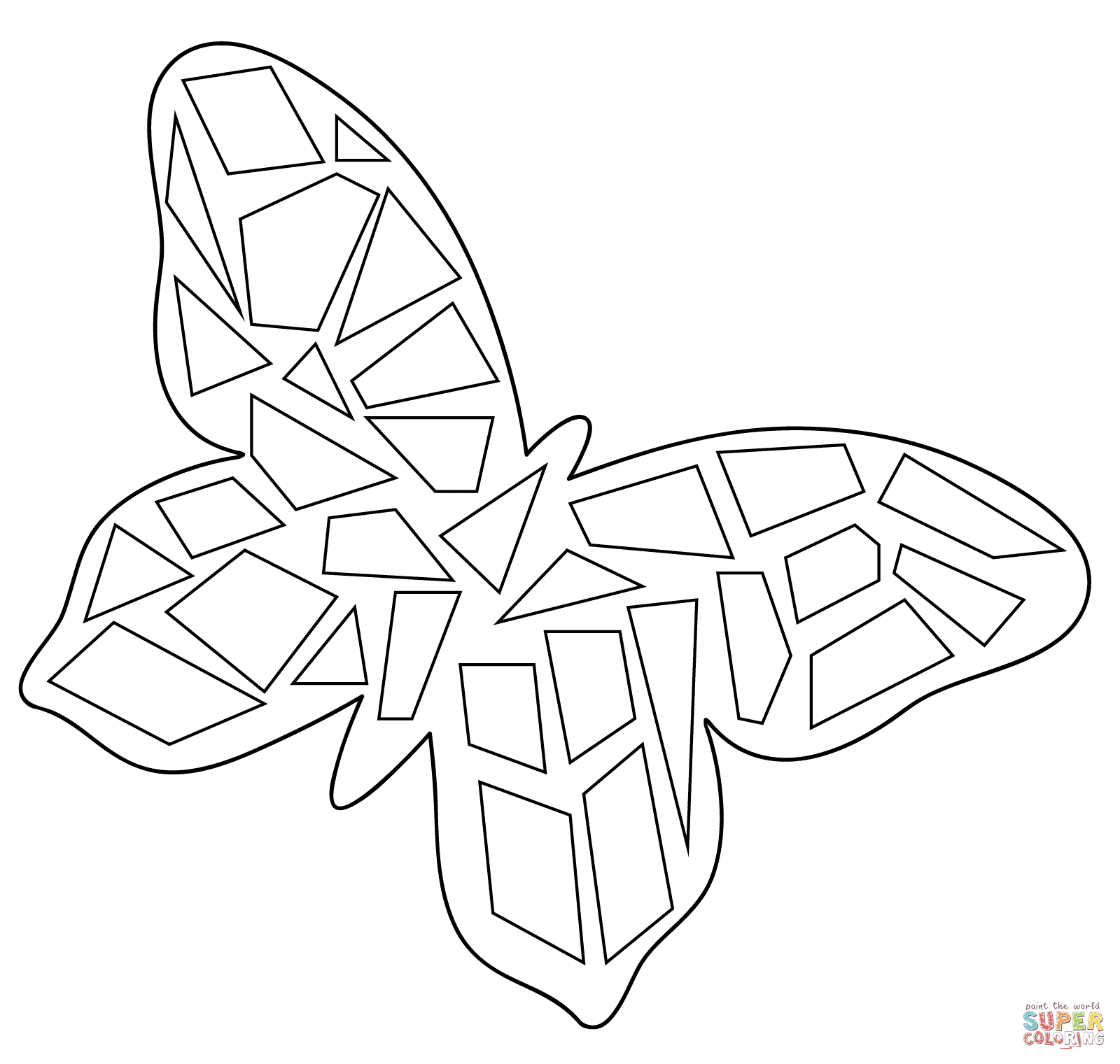 Butterfly Mosaic Coloring Page Free Printable Coloring Pages