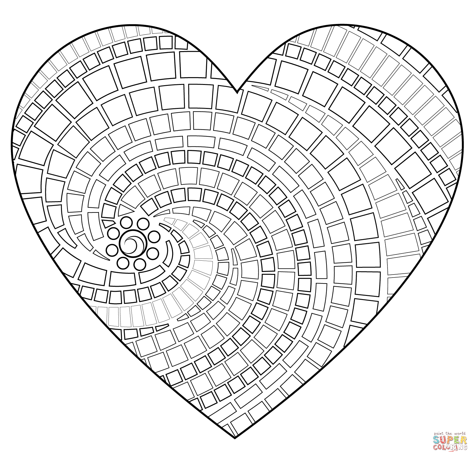 Heart Mosaic Coloring Page Free Printable Coloring Pages