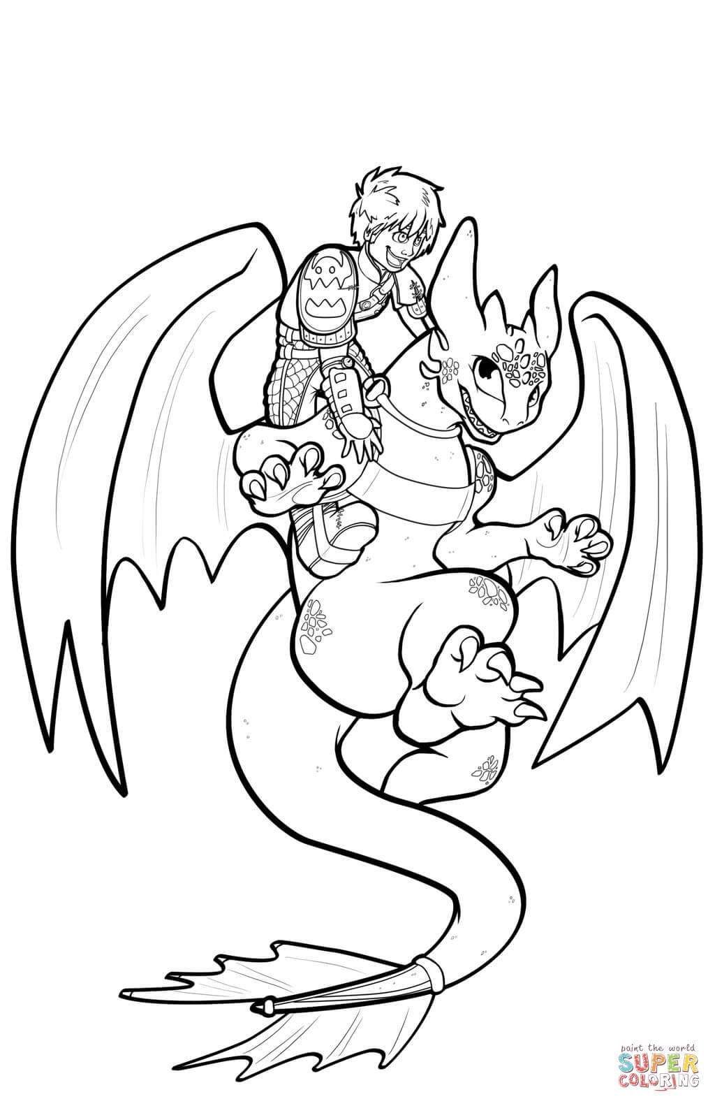 Hiccup And Toothless Flying Coloring Page