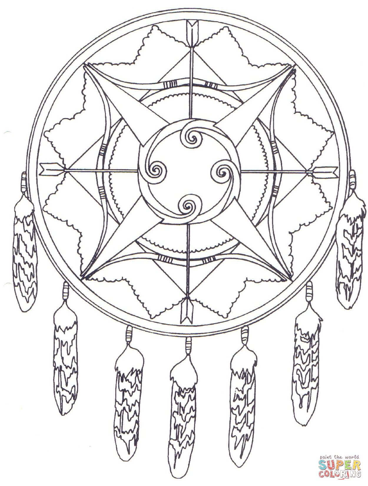 Native American Mandala With Bows And Arrows Coloring Page