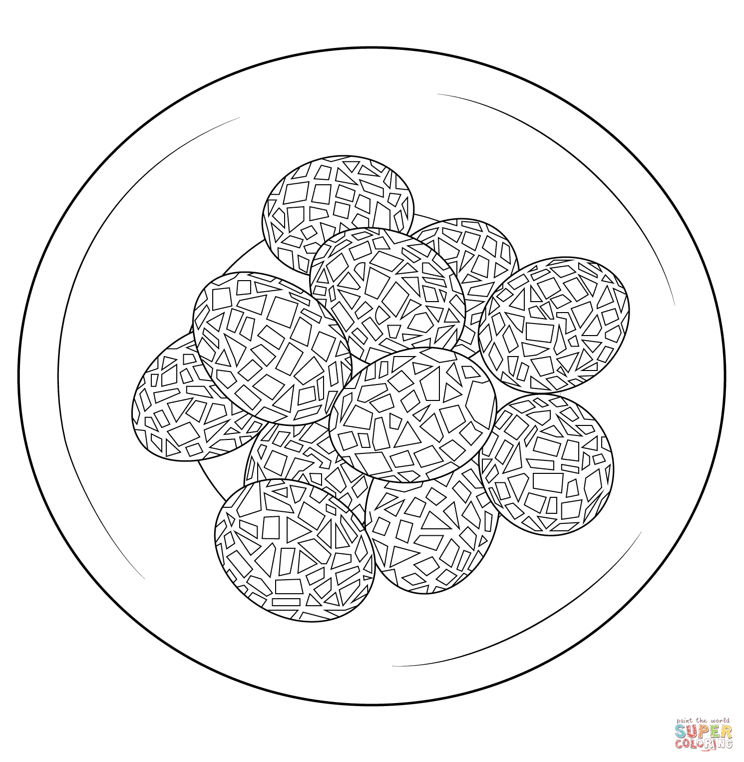Mosaic Eggs Coloring Page
