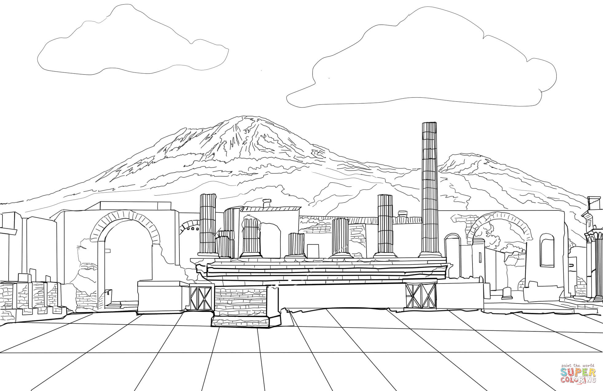 Pompeii Coloring Page