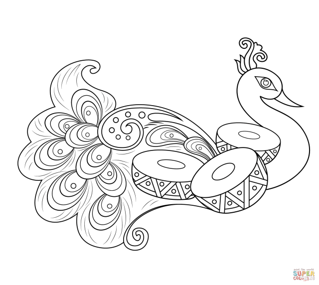 Rangoli with Peacock coloring page  Free Printable Coloring Pages
