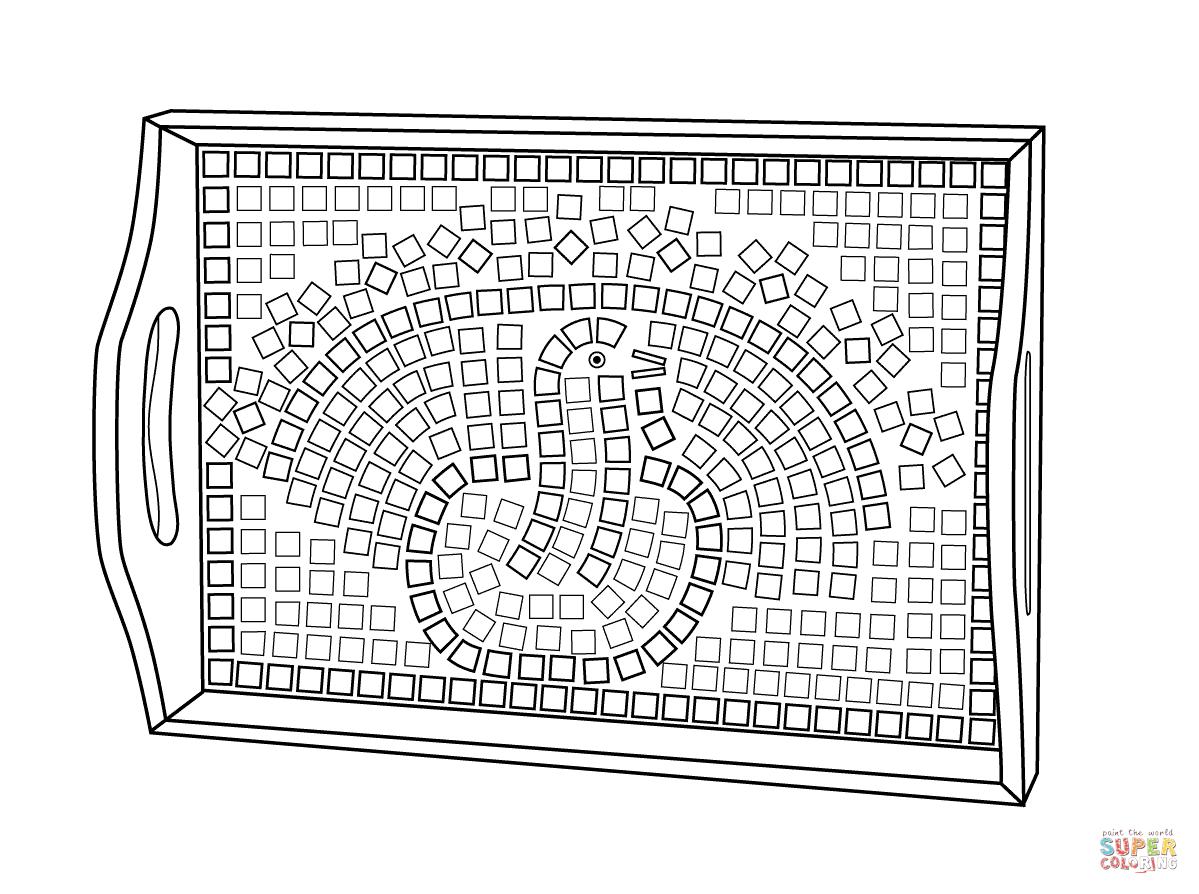 Thanksgiving Mosaic Platter Coloring Page