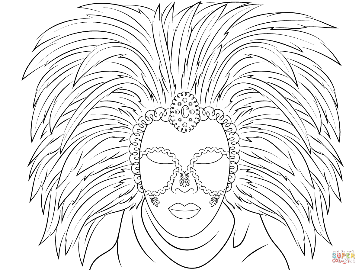 Venetian Mask Coloring Page