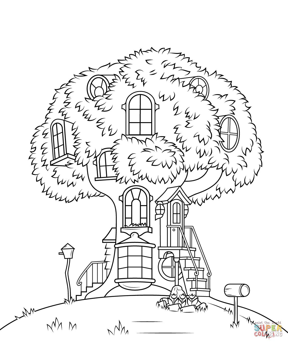 Kolorowanka Misiowankowy Domek Na Drzewie