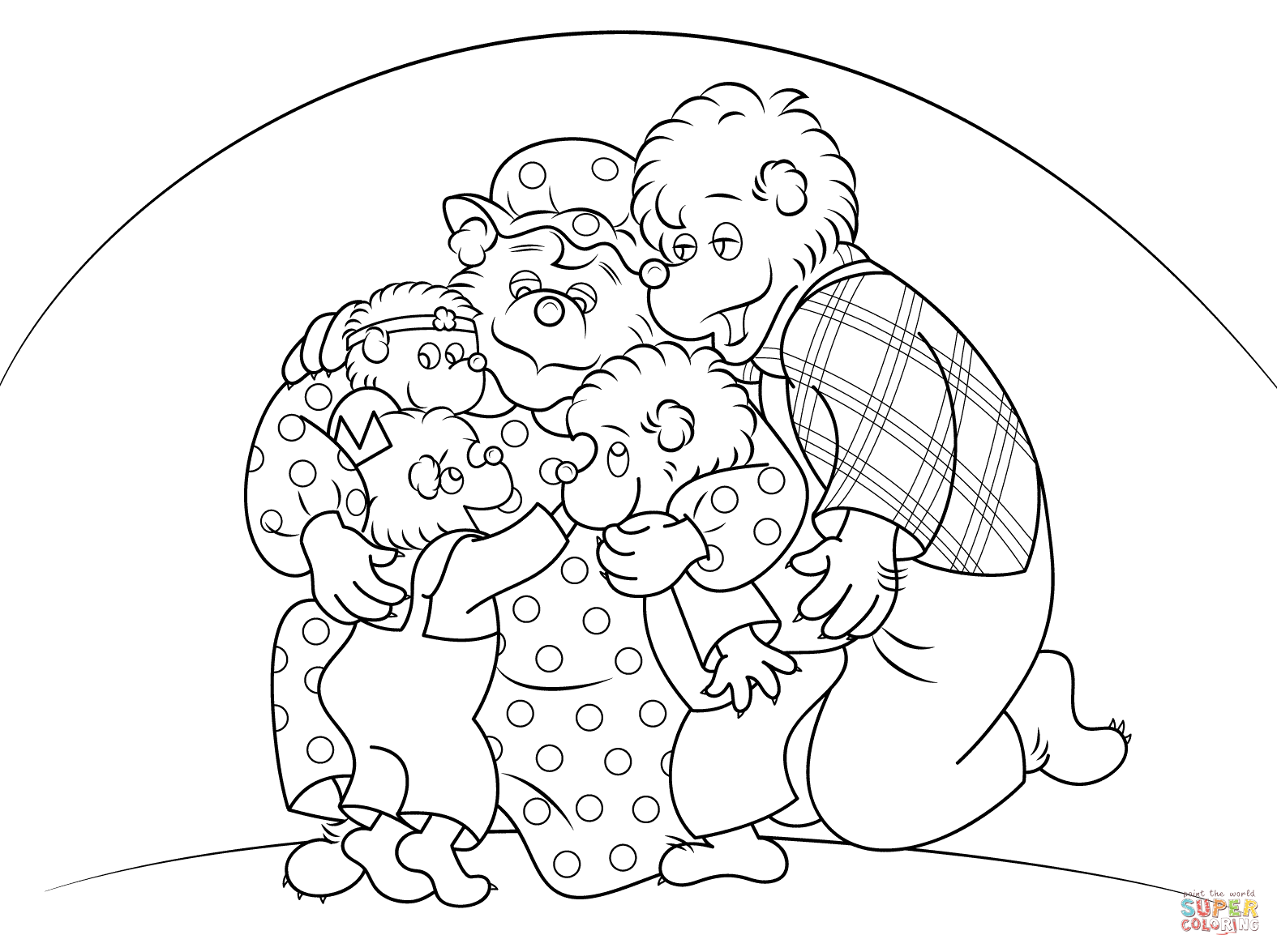 Berenstain Bears Are Hugging Coloring Page
